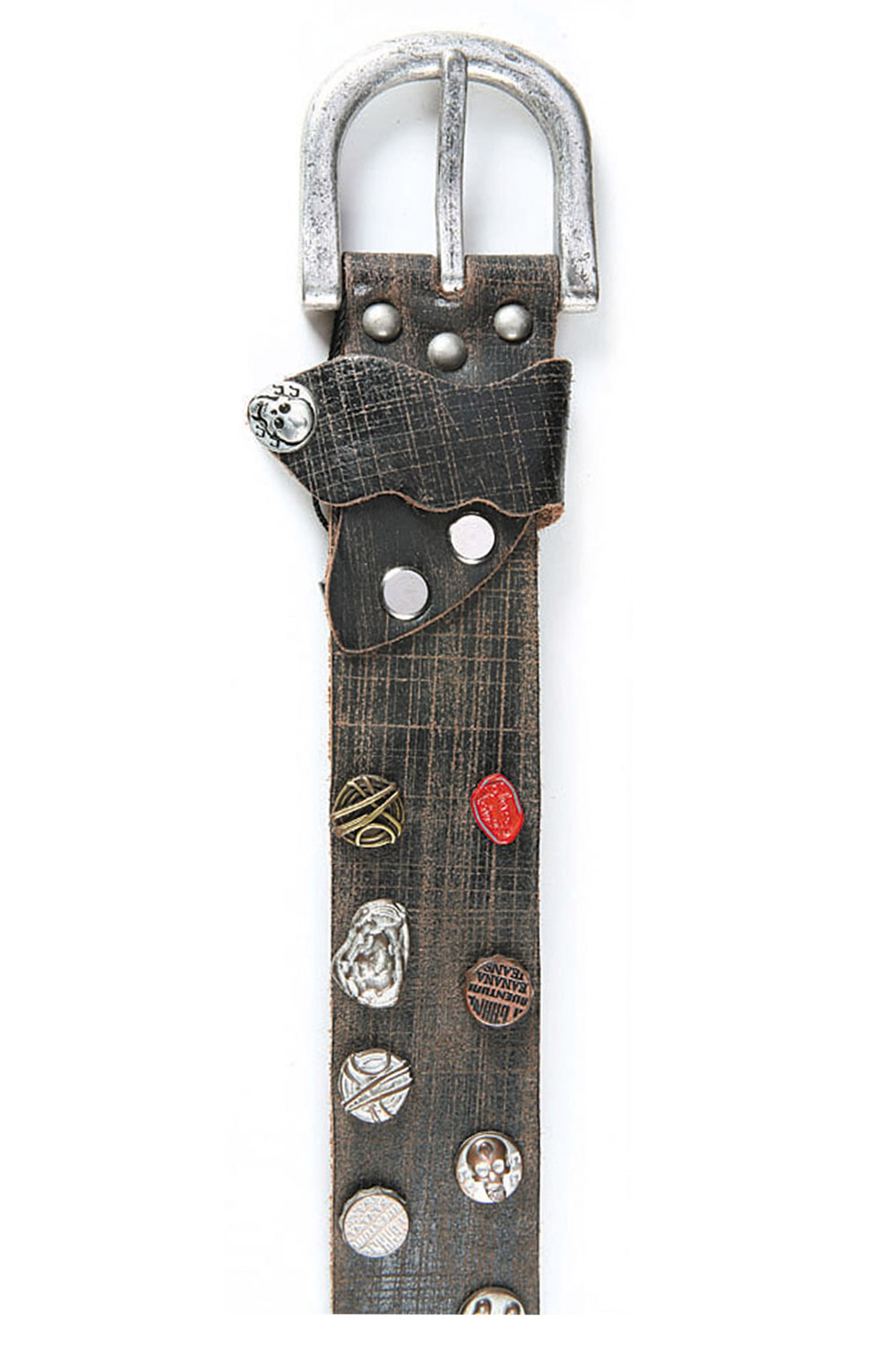 Art Sports Belt from natural dark brown skin with small buttons and skulls - 511914